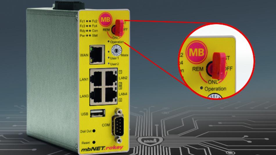 Über ein zweistufiges Sicherheitskonzept verfügt der Industrie-Router »mbNET.rokey« von MB Connect Line.
