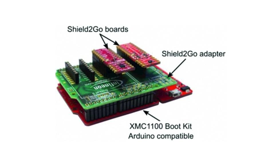 Bild 5: Bis zu drei S2Go-Platinen lassen sich über einen Adapter mit dem XMC1110 Boot Kit einsetzen, das schaltungstechnisch einen Arduino-UNO nachbildet.