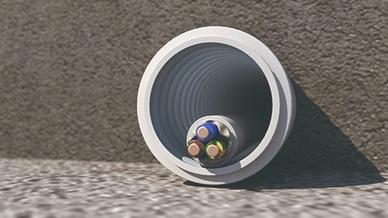 Das biegsame Rohr verformt sich in Beton um maximal 25 Prozent – so bleibt ein optimaler Leitungseinzug über die gesamte Strecke hinweg garantiert.