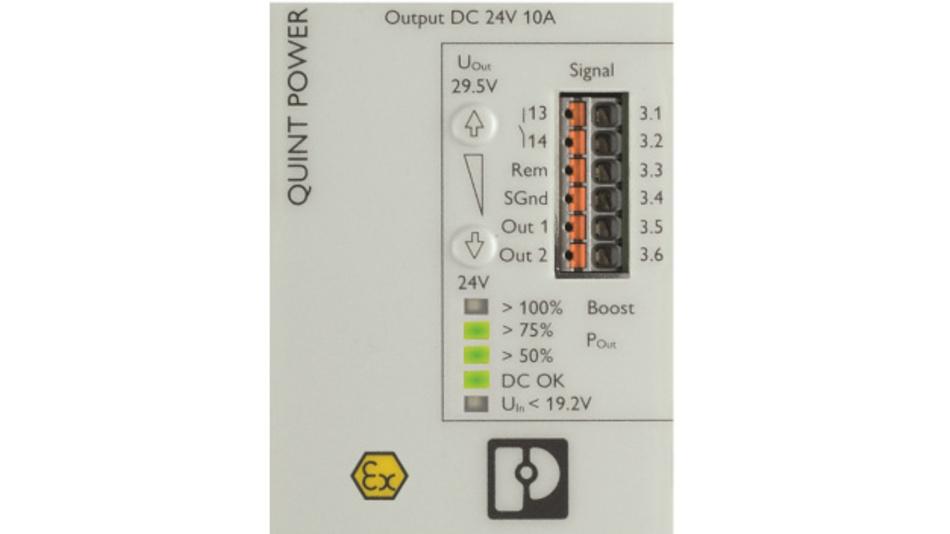 Bild 1: Die Signaloptionen bei der präventiven Funktionsüberwachung lassen sich frei vom Kunden parametrisieren, die Status-LEDs zeigen kontinuierlich den Zustand der DC-DC-Wandler an.
