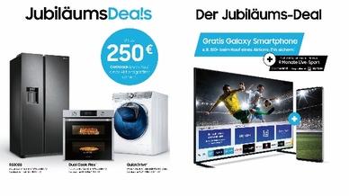 """Bis zu 250 Euro Cashback gibt es beim Kauf neuer Haushaltsaktionsgeräte. Wer einen Aktions-TV erwirbt, erhält ein """"Galaxy""""-Smartphone und bis zu neuen Monate Live-Sport obendrauf."""