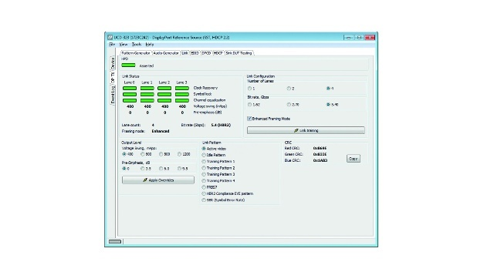 Bild 1: Die Registrierkarte Link zeigt den DP-Verbindungsstatus mit der UCD-Konsole.