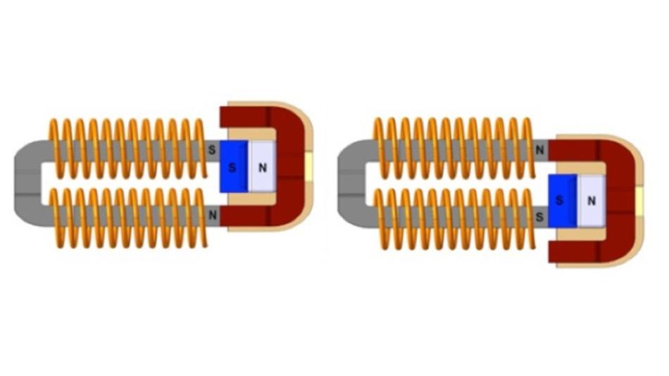 Bild 3: Wenn der Benutzer auf den Betätiger des Energy-Harvesters AFIG-0007 von ZF Electronics drückt, wechselt ein Magnetblock seine Position und generiert beim Drücken und Loslassen des Betätigers jeweils einen Energieimpuls.