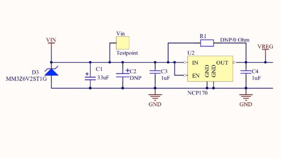 Bild 4: Das RSL10 kann über eine einfache Versorgungsschaltung gespeist werden, die den gleichgerichteten Ausgang des Energy Harvesters AFIG-007 begrenzt.