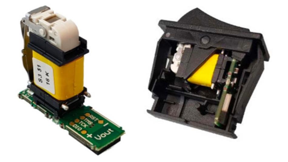 Bild 6: Nach Abnehmen der beiden Seitenteile der Entwicklungsplatine von ON Semiconductor (links) kann die 7 mm x 23 mm große Baugruppe leicht in einem typischen Wippschalter-Leergehäuse untergebracht werden (rechts).