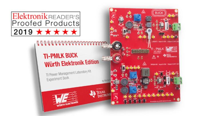 Der Powermanagement-Experimentierbaukasten TI-PMLK in der Würth Elektronik Edition.