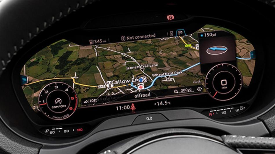 Bild 1. Das Audi Virtual Cockpit als Beispiel für eine neue digitale Armatureneinheit mit hohem Grafikanteil.