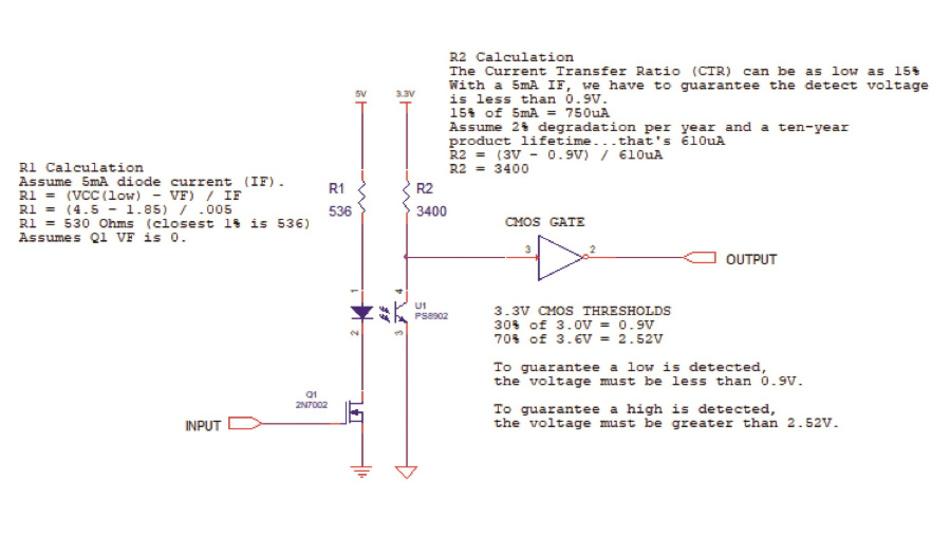 Bild 1: Schaltbild der Optokoppler-Schaltung mit dem PS8902 von Renesas Electronics.