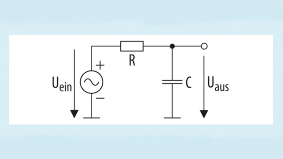 Bild 1. Einfacher RC-Tiefpassfilter.