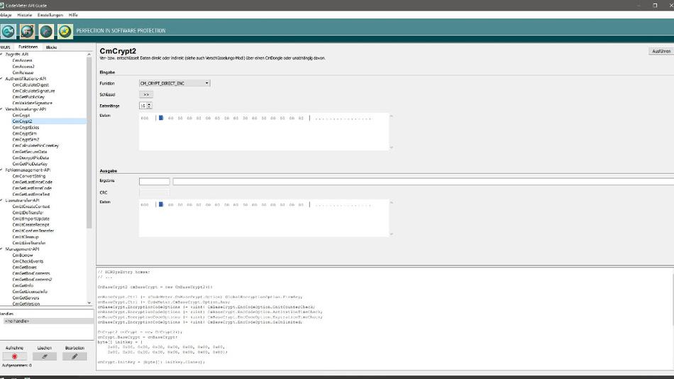 Bild 3. Die Hilfe für die CodeMeter-Core-Programmierschnittstelle.