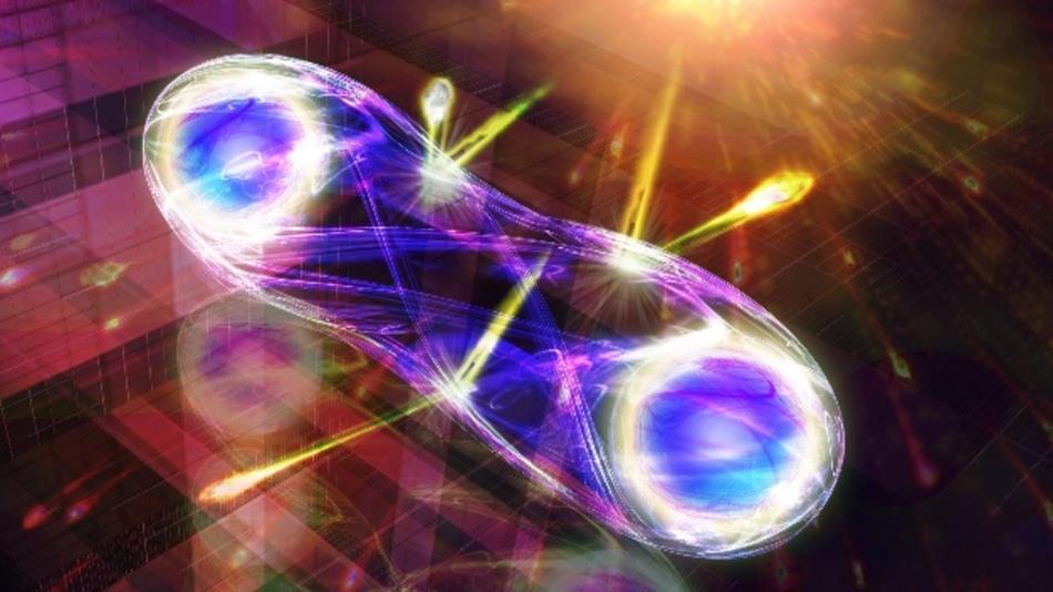 Künstlerische Darstellung einer robusteren Quantenverschränkung von Lichtteilchen.