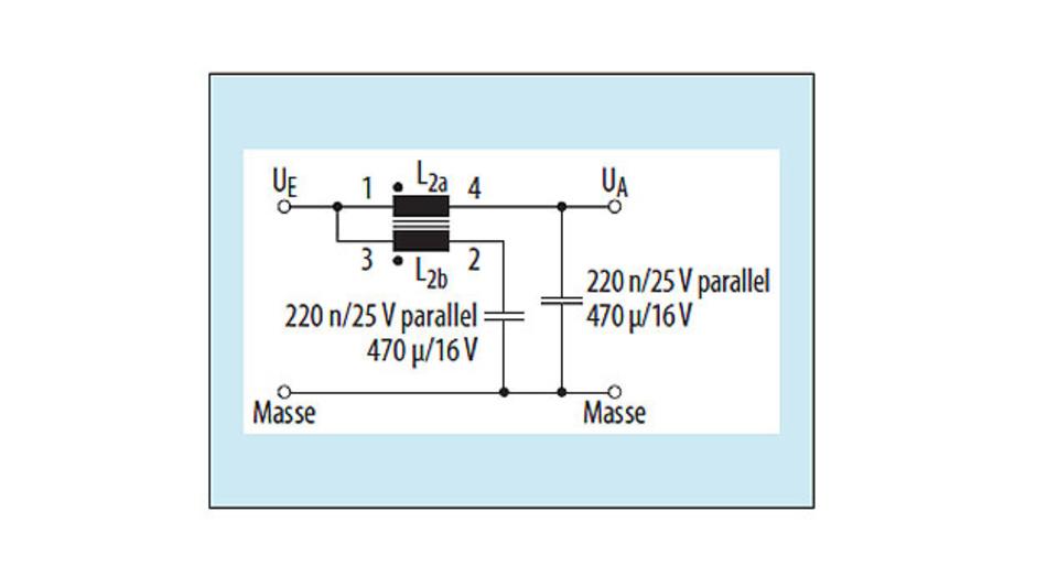 Bild 5: Lineares Zweitor-Filter mit einer gekoppelten Induktivität (Würth Nr.: 74489440068) zum Dämpfen von Störwechselströmen in Gleichstromkreisen