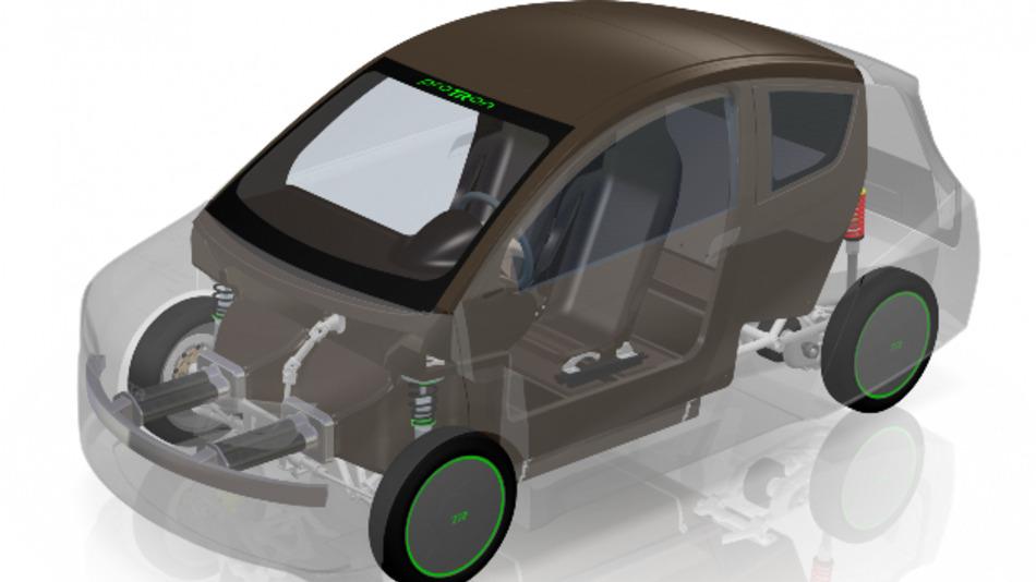 Kernstück des proTRon EVOLUTION: Die Fahrgastzelle aus naturfaserverstärktem Kunststoff (Gesamtfahrzeug transparent).
