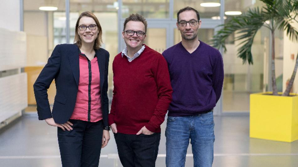 Kristina Tschulik, Tobias Vöpel und Nicolas Plumeré (von links) gehören zum Projektteam »Saber Print«.