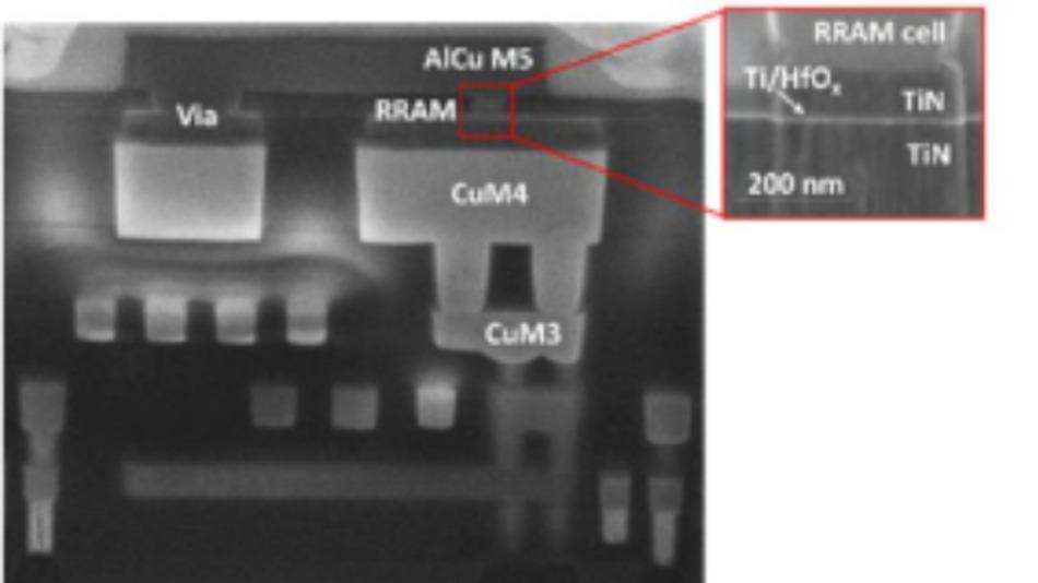 Die Aufnahme zeigt einen Schnitt durch den ersten Chip, auf dem ein Spiking Neural Network vollständig integriert ist. Über der Logikebene sind die RRAMs angeordnet.