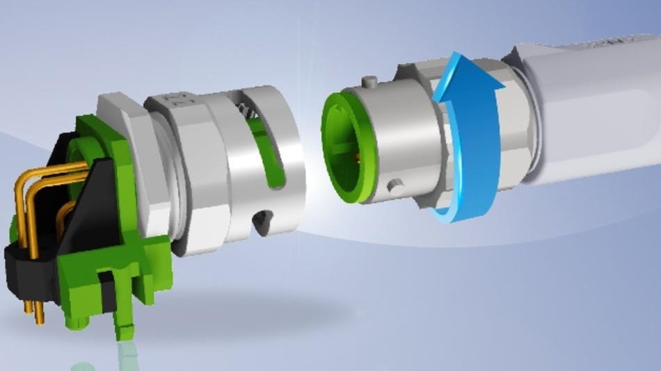 Conec stellt eine M12x1-Steckverbinderserie mit Bajonett-Schnellverriegelung vor. Mit dem Drei-Punkt-Bajonettverschluss lässt sich die Verbindung mit einer 90°-Drehung per Hand verriegeln. Nachdem der Stecker verriegelt ist, folgt direkt ein taktiles und akustisches Feedback. Im verriegelten Zustand erfüllt die Serie den Schutzgrad IP67. Die Print-Kupplungsflansch–Varianten sind mit einem Innengewinde im Steckbereich ausgestattet und somit rückwärtskompatibel zu Standard-M12-Steckverbindern. Neue Systeme lassen sich also ohne Bedenken geräteseitig mit dem M12-Bajonett ausstatten. Als Standard sind die M12-Bajonett-Serie in den Kodierungen A und D verfügbar. Die Printflansche bietet Conec in axialer und gewinkelter Form für die Hinterwandmontage und eine Paneldicke von 2,2mm an. Andere Codierungen sind auf Nachfrage erhältlich.  Conec Elektronische Bauelemente, www.conec.com, info@conec.de, Tel. 02941 765-0