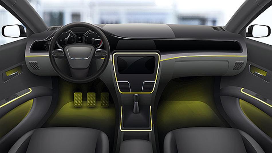 Bild 1. Beispiel für eine personalisierbare Ambientebeleuchtung im Fahrzeug.