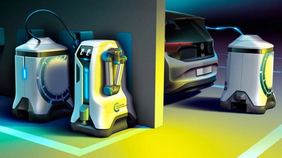 Volkswagen Group Components präsentiert ein neues Ladekonzept: Mobile Laderoboter sollen vollkommen autonom E-fahrzeuge laden.