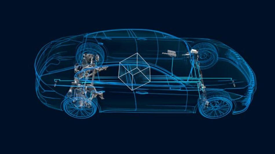 CubiX von ZF: Das Fahrwerk der Zukunft aus Code. Die zentrale Software-Komponente greift auf Sensor-Informationen des gesamten Fahrzeugs zu und bereitet sie für die optimale Steuerung aktiver Systeme in Fahrwerk, Lenkung, Bremse und Antriebsstrang auf. So kann cubiX das Fahrverhalten zentral optimieren.