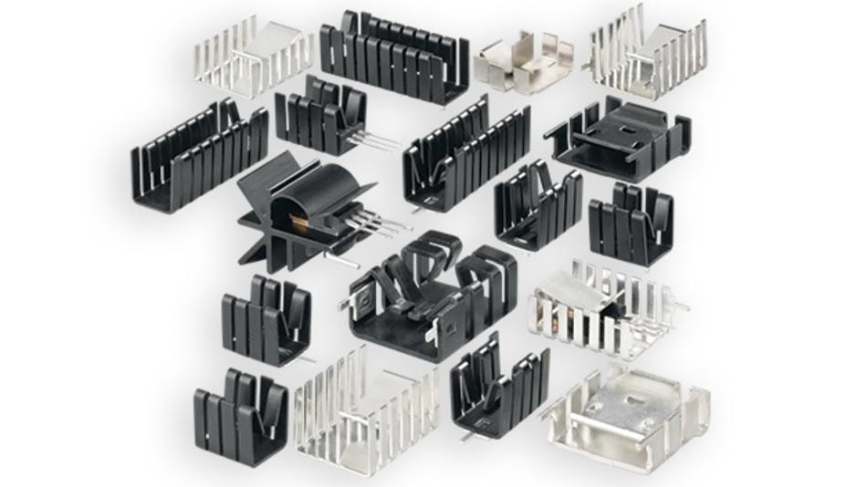 Bild 1: Verschiedenartige Fingerkühlkörper ermöglichen eine gezielte Entwärmung von elektronischen Bauteilen auf der Leiterkarte.