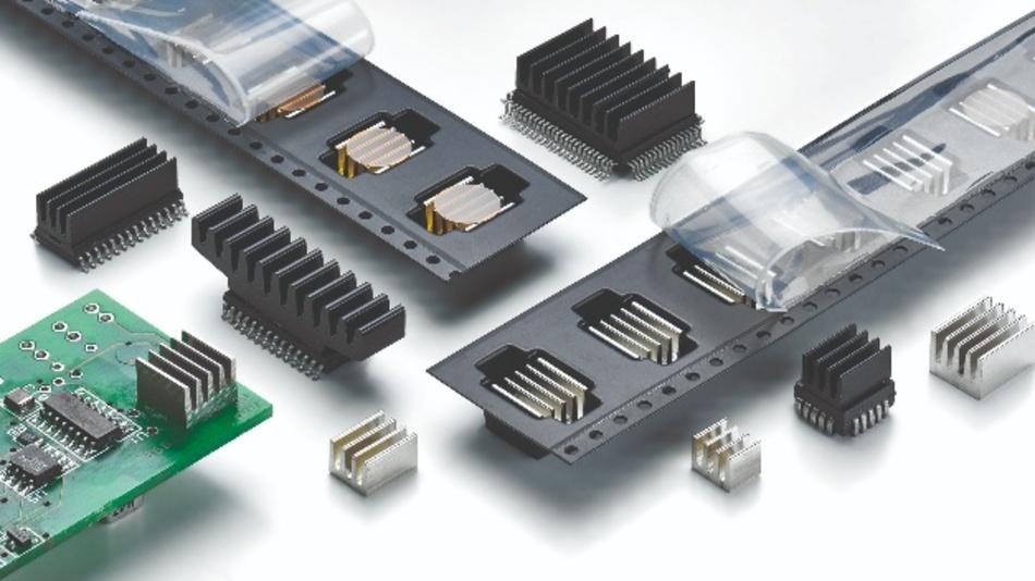 Bild 4: Angepasste SMD-Kühlkörper, auch in Verbindung mit besonderen Verpackungsformen, finden Anwendung zur Wärmeabfuhr von größeren Verlustleistungen auf der Leiterkarte.