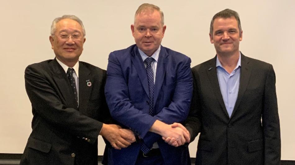Der bisherige, der neue und der stellvertretende President der IFR: Junji Tsuda, Steven Wyatt und Milton Guerry (v.l.n.r.)