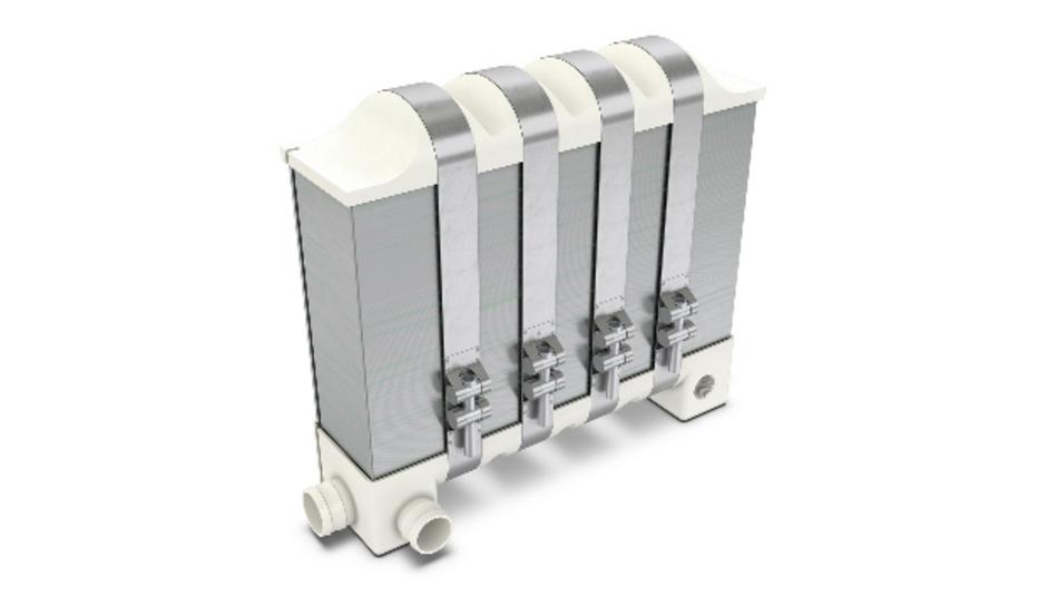 Zu Stacks geschichtete Bipolarplatten sind wichtiger Teil eines Brennstoffzellensystems.