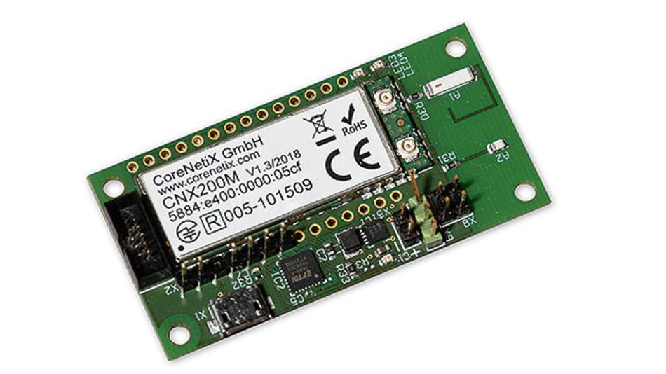 Bild 2. Das IP500-Funkmodul CNX200 enthält einen Mikrocontroller für den IP500-Netzwerk-Stack und auch die Antenne. Es erfüllt alle Anforderungen für die weltweite Zertifizierung – für Europa (RED), Indien, Japan, USA (FCC) etc.