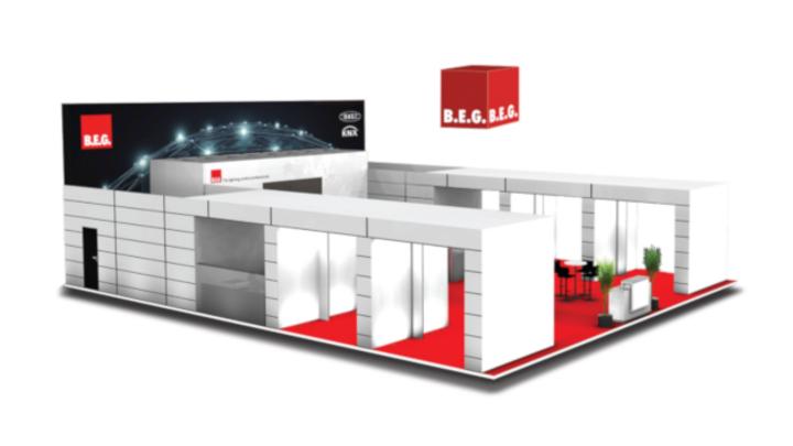 Entwurf des Messestands von B.E.G. für die Light + Building 2020