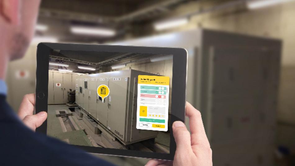 Die Augmented Reality App im Einsatz für die Wartung von Geräten im industriellen Umfeld.