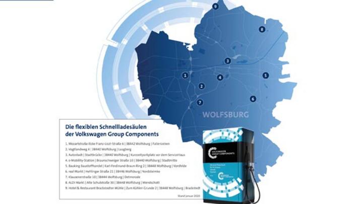 Volkswagen hat 12 Schnellladesäulen in Wolfsburg aufgestellt.