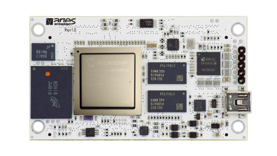Das SoM »M1000PFS« von Aries Embedded basiert auf Microchips PolarFire-Serie.
