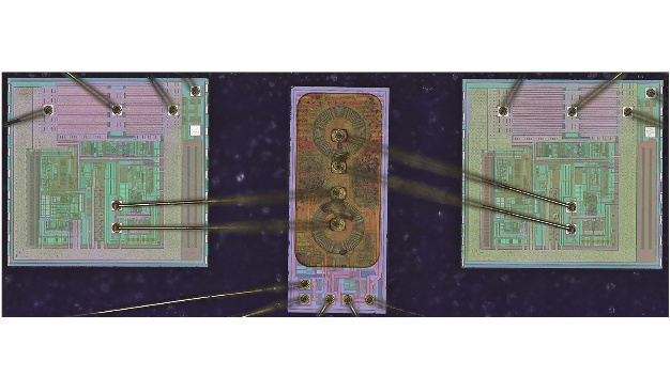 Bild 1: Innerer Aufbau des Mosfet-Halbbrückentreibers ADuM3223 von Analog Devices. Links und rechts sind die beiden Eingangs- beziehungsweise Ausgangsschaltungen zu sehen, in der Mitte sitzt der Mikrotrafo, der die elektrische Isolierung sicherstellt.