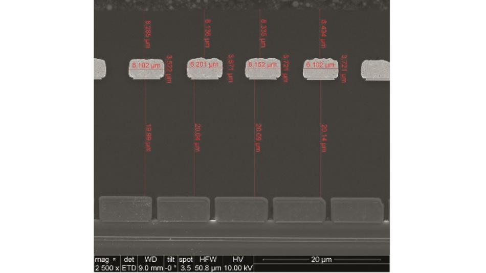 Bild 2: Querschnitt durch einen Mikrotrafo des ADuM3223. Oben und unten sind die beiden Planarwicklungen zu sehen, getrennt durch eine 20 µm dicke Schicht aus Polyimid.