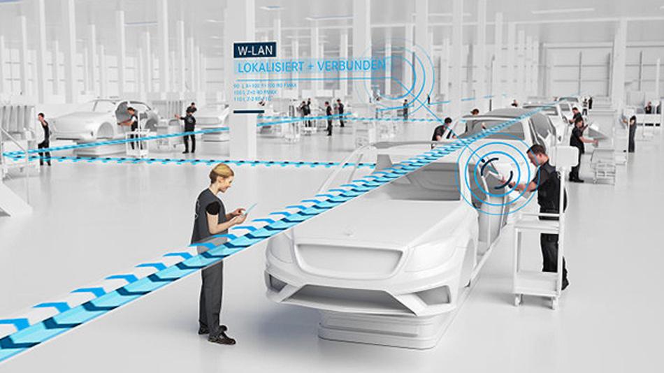 In der Sindelfinger »Factory 56« von Mercedes-Benz kommunizieren Mensch, Anlage und Fahrzeug digital miteinander.