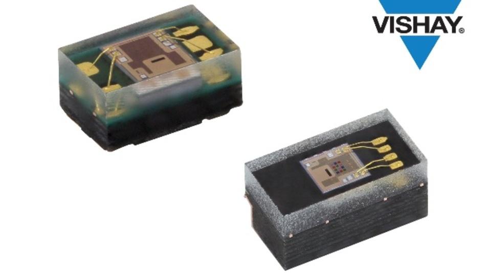 """Für Anwendungen wie automatischer Weißabgleich und Farbstichkorrektur in Digitalkameras, automatische Optimierung der Hintergrundbeleuchtung von LCDs sowie aktive LED-Farbüberwachung in IoT-Anwendungen und smarten Beleuchtungssystemen konzipiert sind die neuen RGBC-IR-Sensoren von Vishay. Im Vergleich zu Bauteilen der vorigen Generation zeichnen sich die neuen Sensoren VEML3328 (top-looking) und VEML3328SL (side-looking) durch bessere Linearität und höhere Empfindlichkeit aus und bieten außerdem neue Funktionen wie etwa einen Infrarot-Kanal. Die Sensoren vereinen in einem einzigen CMOS-Chip Photodioden, Verstärker sowie analoge und digitale Schaltkreise. Sie sind für Rot, Grün, Blau und IR-Licht empfindlich und besitzen zudem einen Kanal mit hoher Empfindlichkeit für einen weiten Bereich des sichtbaren Lichtes. Sie erkennen Umgebungslicht und sind in der Lage, dessen Farbtemperatur zu bestimmen. Die Sensorfunktionen lassen sich über das SMBus-kompatible I2C-Schnittstellenprotokoll steuern. Zusätzlich verfügen die Sensoren über einen sogenannten """"Active Force"""" Mode, der den spezifizierten Strom nur für die Dauer der Messung benötigt und ansonsten nur eine typische Stromaufnahme von 800 nA aufweist."""