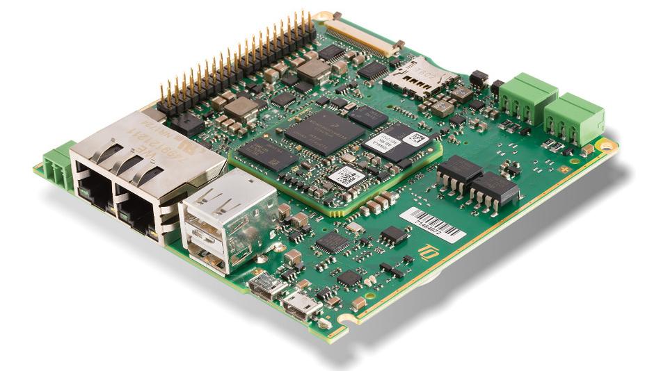 Bild1. Das Motherboard MBa6ULxL ist mit einem i.MX6UL- und i.MX6ULL-Prozessor von NXP mit Cortex-A7-Architektur ausgestattet und für Gateway, Daten-Logger und HMI-Anwendungen konzipiert.