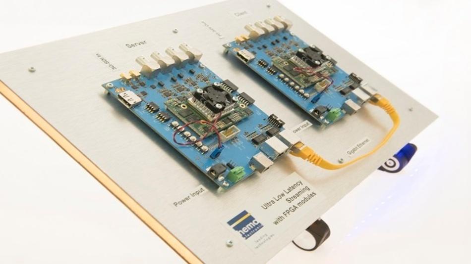 Bei der Ultra-Low-Latency-Streaming-Plattform sind Bauteile der Unternehmen Xilinx und Enclustra im Einsatz.