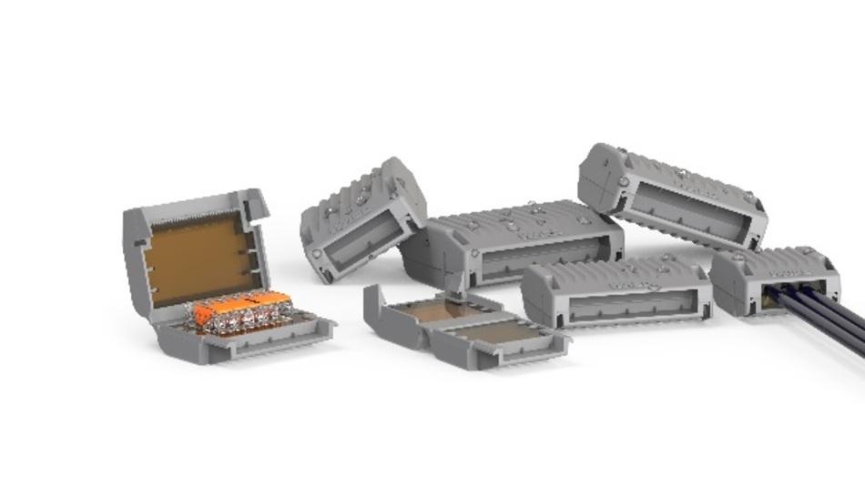 Die Gelbox von Wago schützt Verbindungsklemmen vor Feuchtigkeit – gemäß IPX8.