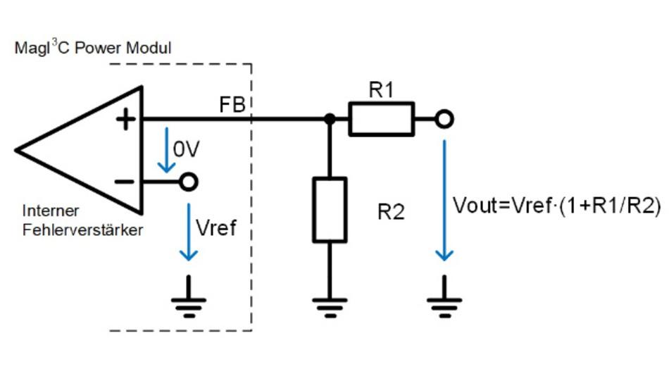 Bild 2: Die Ausgangsspannung Vout lässt sich über den Spannungsteiler aus R1 und R2 einstellen.