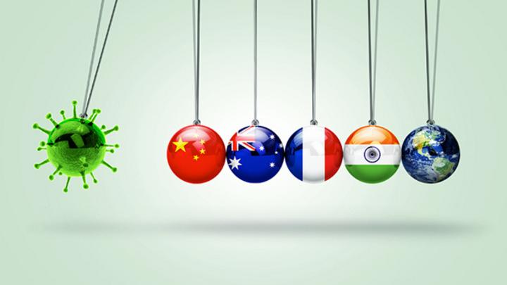 Symbolbild Virus Pendel Weltwirtschaft