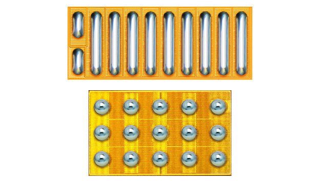 Fig. 1: Instead of a land grid array (LGA; top) EPC is using for the latest products a ball grid array (BGA, botton).