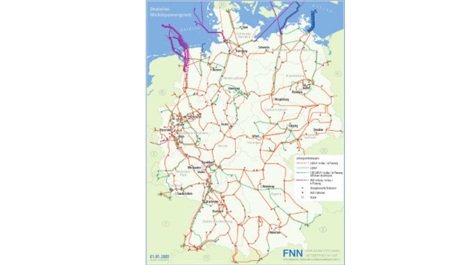 Die aktuelle Karte »Deutsches Höchstspannungsnetz«, zeigt sowohl bestehende wie im Bau und in der Planung befindliche Leitungen (380 und 220 kV).