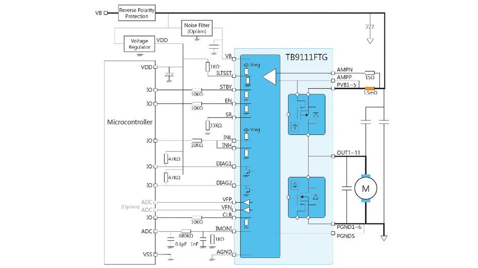 Bild 2. Stromüberwachung über einen ADC-Eingang und den IMONI-Ausgangspin.