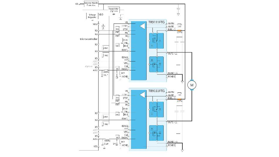 Bild 4. Vollbrückenimplementierung mit Stromüberwachung in beiden Halbbrücken.