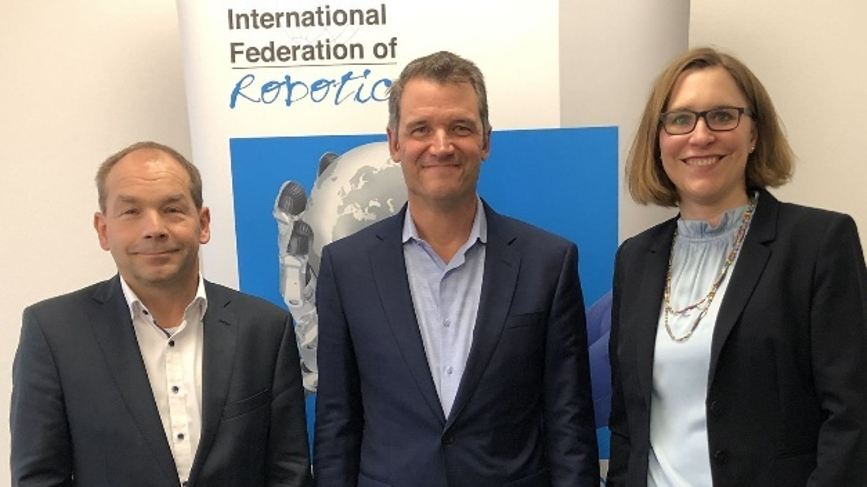 Von links: Armin Schlenk, Chairman IFR Marcom Group; Milton Guerry, Präsident der IFR; Susanne Bieller, IFR General Secretary