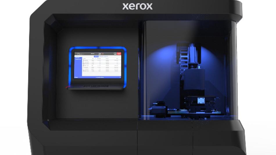 Der Prototyp eines 3D-Druckers von Xerox, der mit flüssigem Metall arbeitet. Anwender können damit dieselben Legierungen verwenden, die auch in der traditionellen Fertigung zum Einsatz kommen.