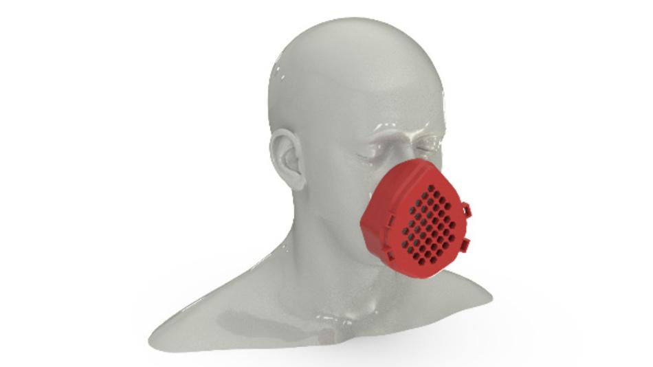 Prototyp einer im 3D-Druck-Verfahren hergestellten Schutzmaske.