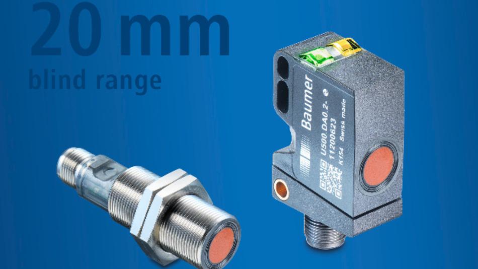 Ultraschallsensoren UR18 (links) und U500 (rechts) für industrielle Anwendungen mit Messbereich von 20 mm bis 1000 mm.