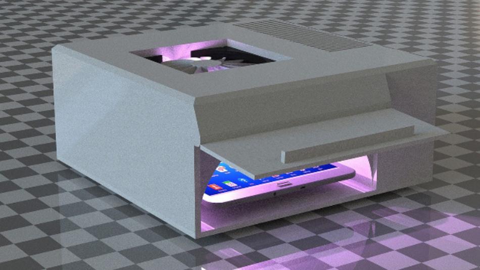 Prototyp des Smartphone-Desinfektionssystems des Fraunhofer IOSB-AST.